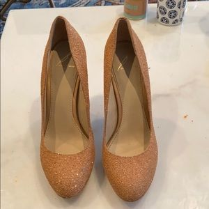 Brian Atwood nude sparkly heels